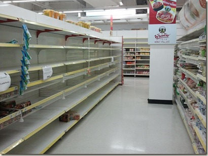 Empty shelves in super market in Phuket