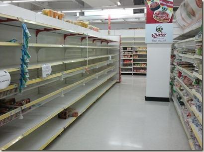 Empty shelves in super market in Phuket