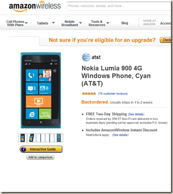 Nokia Lumia 900 out of stock on Amazon Wireless