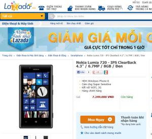 lazada vietnam lumia 720