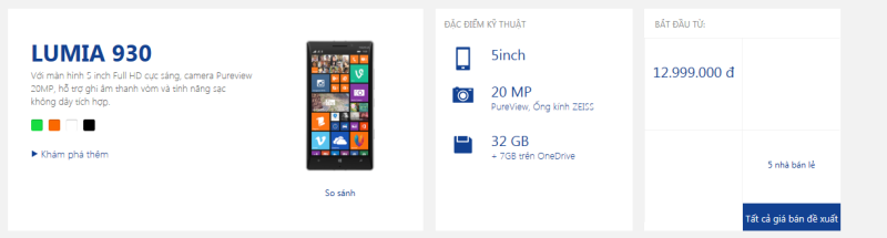 Lumia 930 on Nokia Vietnam website