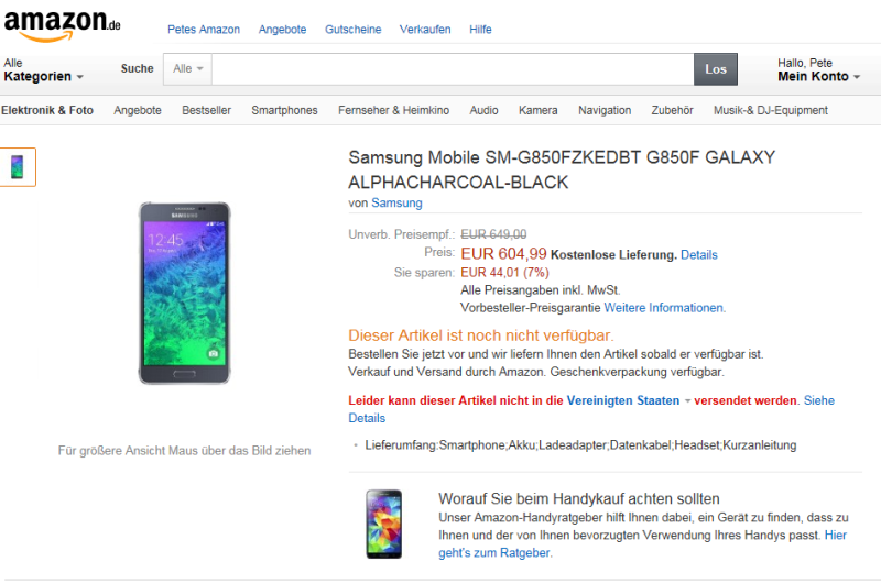 Samsung Galaxy Alpha posting on Amazon.de