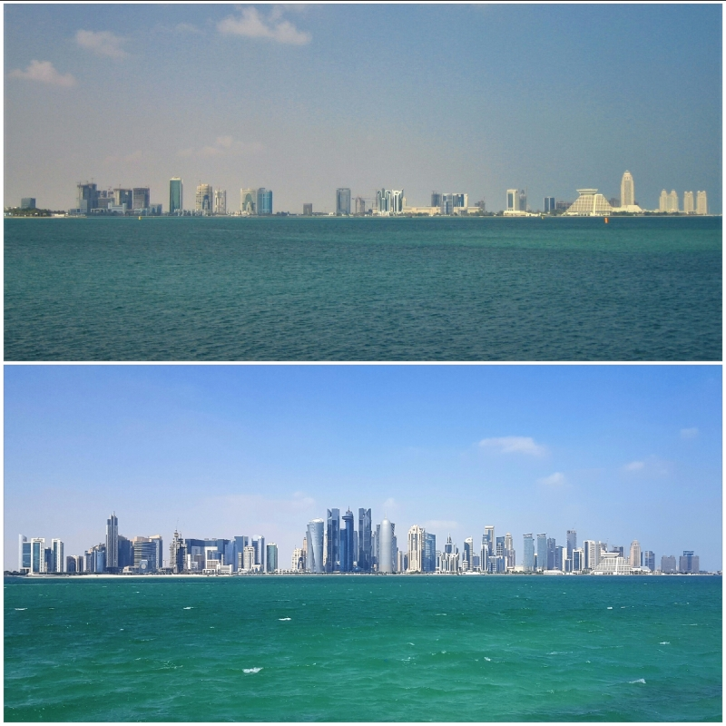 skyline of doha comparing 2005 and 2015